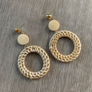 NWT WICKER / RATTAN EARRINGS - Light Wood Circles